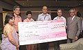 The Union Minister for Housing and Urban Poverty Alleviation & Tourism, Kum. Selja being presented a dividend cheque by the CMD, ITDC, Shri Parvez Dewan, in New Delhi on June 02, 2009.jpg