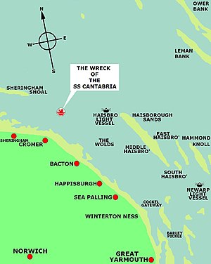 SS Cantabria (1919) - Map showing the area of the incident