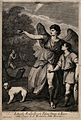 The angel, holding a jar of fish bile, guides Tobit to his f Wellcome V0034455.jpg