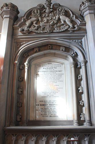 Preston baronets - The grave of Sir Robert Preston, 6th Baronet of Valleyfield, Culross Parish Church