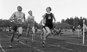 1500 metres - Olavi Salsola, Olavi Salonen and Olavi Vuorisalo (The three Olavis) break the 1,500 m world record in 1957 in Turku, Finland.