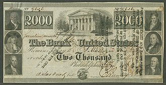 United States two thousand-dollar bill - Image: Third Bank of the US $2000, Dec 15, 1840, obverse