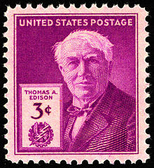 Thomas Edison 3c 1947 issue U.S. stamp. He really was smart.