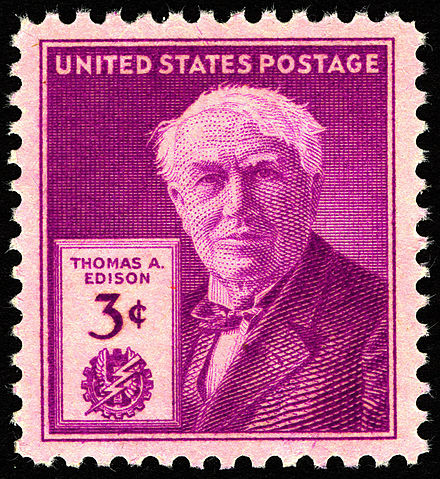 Thomas Edison commemorative stamp, issued on the 100th anniversary of his birth in 1947 Thomas Edison 3c 1947 issue U.S. stamp.jpg