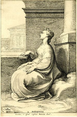 Patience - Three virtues by Jan Saenredam after Hendrik Goltzius. This is plate 2, titled Patientia.