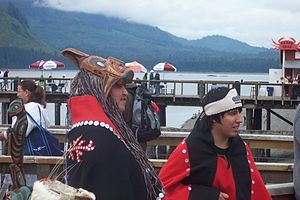 Tlingit garbed people and items at Icy Strait Point 2009.jpg