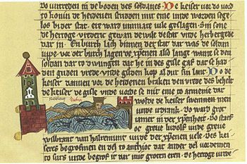 Friedrich Barbarossa drowns in the Saleph, depiction in the Saxon world chronicle around 1280