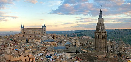 The city of Toledo served as the main revenue of the Imperial court of Charles V in Castile. Toledo Skyline Panorama, Spain - Dec 2006.jpg