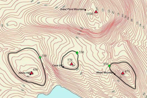 Topographic prominence - Topographic prominence of three peaks near Great Pond Mountain, Maine, USA. Red triangles mark the peaks, the lowest contour line encircling each peak are shown in black and the green dots mark the key cols. The prominences are Atkins Hill: 430 − 310 = 120 ft, Cave Hill: 570 − 530 = 40 ft, Mead Mountain: 671 − 530 = 141 ft. The parent peak of each peak is Great Pond Mountain.