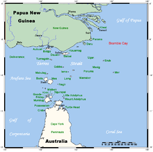 A map of the Torres Strait Islands in the waters of Torres Strait