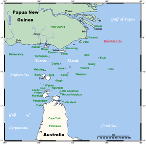 Bramble Cay - Image: Torres Strait Islands Map with Bramble Cay