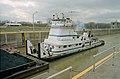 Towboat Elizabeth Marie departing main lock at McAlpine Locks Louisville Kentucky USA Ohio River mile 607 1999 file 99c020.jpg