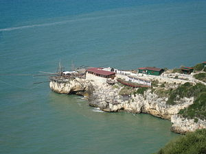 Trabucco - A promontory on the rocky coast of Peschici that has two different sized trabucchi