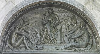 Tradition - Olin Levi Warner, Tradition (1895). Bronze tympanum over the main entrance, Library of Congress, Thomas Jefferson Building, Washington, D.C.
