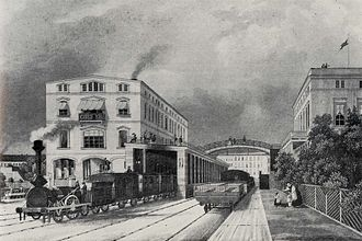 Berlin–Magdeburg railway - The Potsdam Railway station in Berlin in 1843
