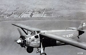 Travel Air 5000 - Woolaroc, winner of ill-fated Dole Air Race in flight