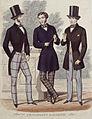 Tre män poserar framför en mur. Modeplansch, Gentlemen's Magazine, 1853 - Nordiska Museet - NMA.0060793.jpg