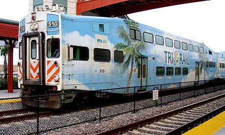 Tri-Rail is Miami's commuter rail that runs north-south from Miami's suburbs in West Palm Beach to Miami International Airport Tri-Rail at Delray Beach Station.jpg