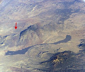 Trinity (nuclear test) - Trinity Site (red arrow) near Carrizozo Malpais