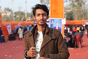 Tulsi Bhagat during Maithili Wikimedians 1st meetup in Janakpur 7851.jpg