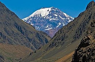 Tupungato - Tupungato volcano seen from Punta de Vacas, Argentina.