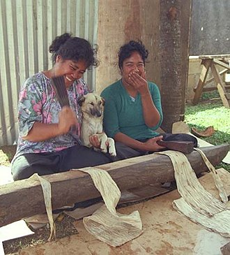 Tapa cloth - A break from beating the tapa in Nuku{{okina}}alofa