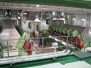 Marine propulsion - Two V12 Diesel engines in a ship's engine room