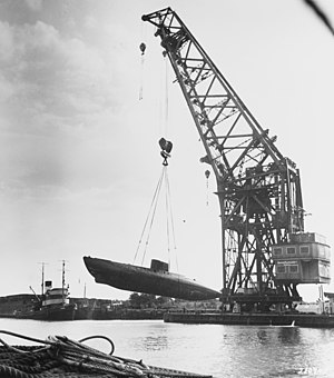 German Type XVII submarine - Type XVIIB boat (probably U-1406 or U-1407) in August, 1945