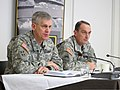 U.S. Army Europe Commander Lt. Gen. Campbell and Command Sgt. Maj. David S. Davenport Sr., senior enlisted adviser, answer questions from German media during the commander's media roundtable and luncheon at the 130325-A-AD638-002.jpg