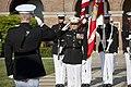 U.S. Marine Lt. Gen. George J. Flynn, Jr., center, salutes the Commandant of the Marine Corps, Gen. James F. Amos, during honors at Flynn's retirement ceremony at Marine Barracks Washington in Washington, D.C 130509-M-KS211-110.jpg