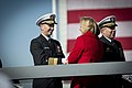 U.S. Navy Adm. Jonathan Greenert, left, the chief of naval operations, congratulates Susan Ford Bales, the sponsor of the aircraft carrier that bears her father's name at the conclusion of the christening 131109-N-WL435-982.jpg
