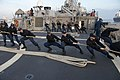 U.S. Sailors aboard the guided missile destroyer USS Stout (DDG 55) heave mooring lines as the ship pulls into port in Haifa, Israel, Jan. 19, 2014, for a scheduled port visit 140119-N-UD469-425.jpg