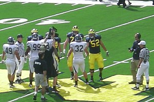 Stephen Schilling - Schilling takes the coin toss as captain of the 2010 Michigan Wolverines football team