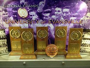 Evansville Purple Aces men's basketball - The memorial display case at the Ford Center honoring UE's championship tradition