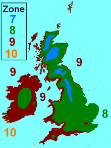 Hardiness zones for the British Isles