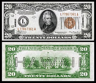 Hawaii overprint note - Image: US $20 FRN 1934 A Fr.2305