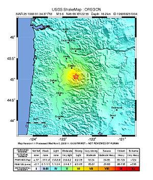 1993 Scotts Mills earthquake - USGS ShakeMap