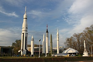 English: Mostly manned rockets on display outd...