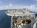 USS Harpers Ferry conducts an underway replenishment with USNS Matthew Perry. (28229427824).jpg