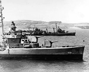 USS Satterlee (DD-626), USS Baldwin (DD-624) and USS Nelson (DD-623) at anchor in Belfast Lough, Northern Ireland, 14 May 1944 (80-G-367828)