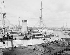 USS Texas (1892) - USS Texas at Brooklyn Navy Yard circa 1903