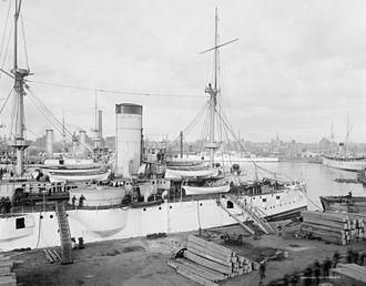 USS Texas (1892) - USS Texas at Brooklyn Navy Yard circa 1903