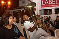 US Navy 050220-N-2468S-001 Musician 2nd Class Algie Smith joins the audience during a performance with the U.S. Seventh Fleet Band during a free public concert held in Colombo, Sri Lanka.jpg