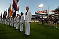 US Navy 050420-N-8977L-009 U.S. Navy Sailors stand at attention while the National Anthem is sung during Military Appreciation Day at Petco Park, home to the San Diego Padres.jpg