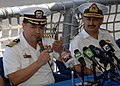 US Navy 050622-N-5526M-001 Capt. Hank Miranda, left, accompanied by Pakistani Commodore, Capt. Jawad, answer questions from the Pakistani media at a joint press conference held aboard the U.S. Navy Oliver Hazard Perry-class fri.jpg