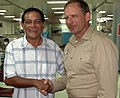 US Navy 060528-N-3153C-025 Capt. Joseph L. Moore, commanding officer of the Mercy's medical treatment facility, escorts the Honorable Mayor of Zamboanga, Celso Lobregat, on his first tour of the Military Sealift Command (MSC) h.jpg