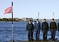 US Navy 081023-N-2966A-005 Submariners assigned to the Virginia-class attack submarine Pre-commissioning Unit New Hampshire (SSN 778) practice manning their ship during rehearsals for the boat's commissioning ceremony at Portsmouth.jpg