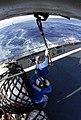 US Navy 090206-N-7780S-433 Military Sealift Command mariners aboard the Military Sealift Command fleet replenishment oiler USNS Pecos (T-AO 197) attach cargo pendants.jpg