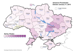 Serhiy Tihipko (First round) - percentage of total national vote (13.06%)