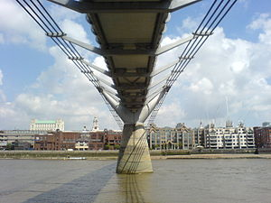 Millennium Bridge, London - Underside of bridge from Southbank
